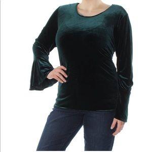 Calvin Klein Green Velvet Blouse Size Small